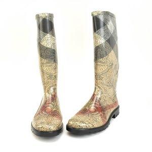 "BURBERRY: Beige, Floral ""Nova Check"" Rain Boots"